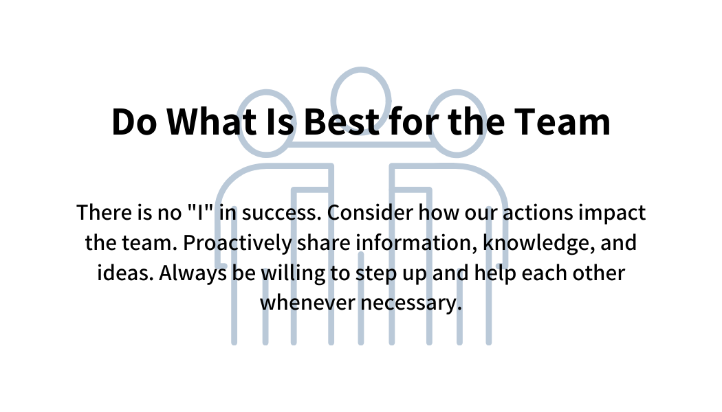 Do what is best for the team